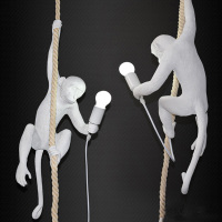 Contemporary Monkey Pendant Light Creative Resin Pendant Lamp Hanging Lamp Vintage Hemp Rope Light Fixture Home