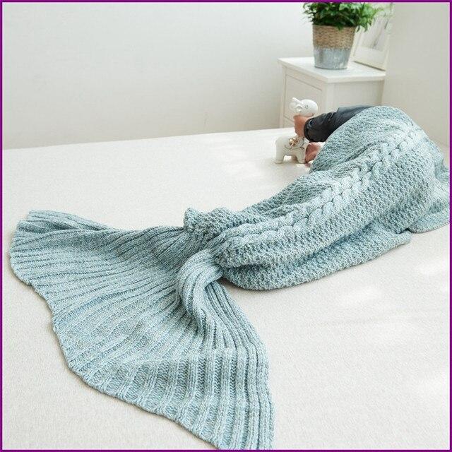 Fun Crochet Mermaid Tail Fin Snuggie Baby Blanket Adult Sleeping Bag
