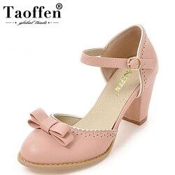TAOFFEN Size 32-43 Women High Heels Sandals Leisure Buckle Strap Chunky Heel Shoes Women Summer Bowtie Sandalias Party Footwear 1