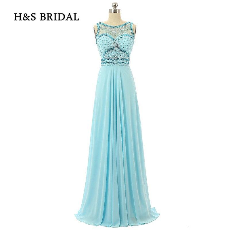 H & S mariée d'été en mousseline de soie strass perles robes de soirée de haute qualité bijou cou filles robes de soirée de bal