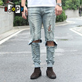 Cool Mens Hip Hop Jeans Skinny Pencil Men Kanye West Denim Pants Destroyed Distressed Ripped Jeans With Holes For Men