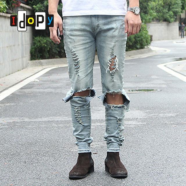 Enfriar mens hip hop kanye west de los hombres de mezclilla pantalones vaqueros flacos del lápiz destruido apenada ripped jeans con agujeros para los hombres