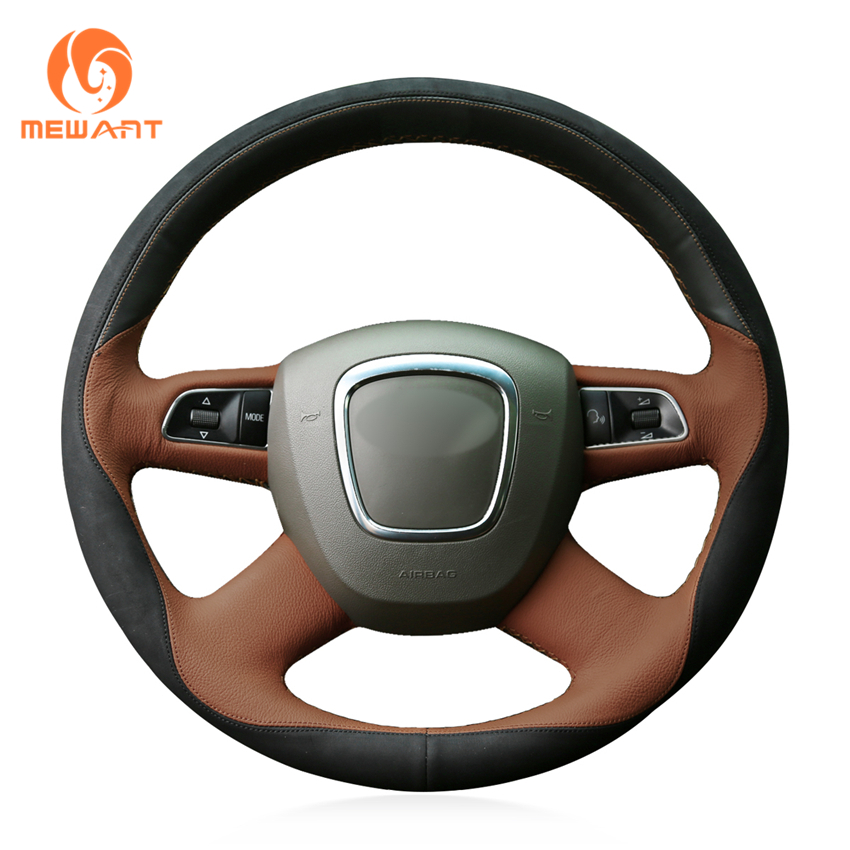 MEWANT Black Brown Leather Black Suede Car Steering Wheel Cover for Audi Old A4 B7 B8 A6 C6 2004-2011 Q5 2008-2012 Q7 2005-2011 цена