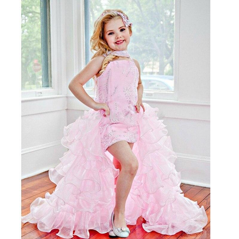 Pink Organza trasero largo corto delantero con cuentas vestidos niña ...