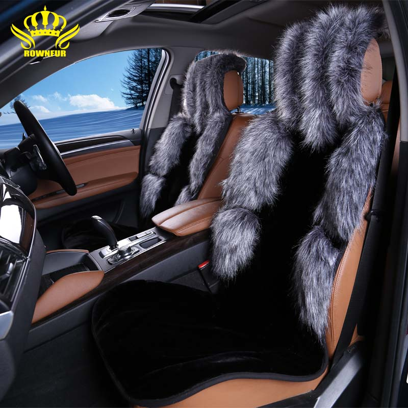 front car seat covers faux fur fox cute car interior accessories cushion styling winter new. Black Bedroom Furniture Sets. Home Design Ideas