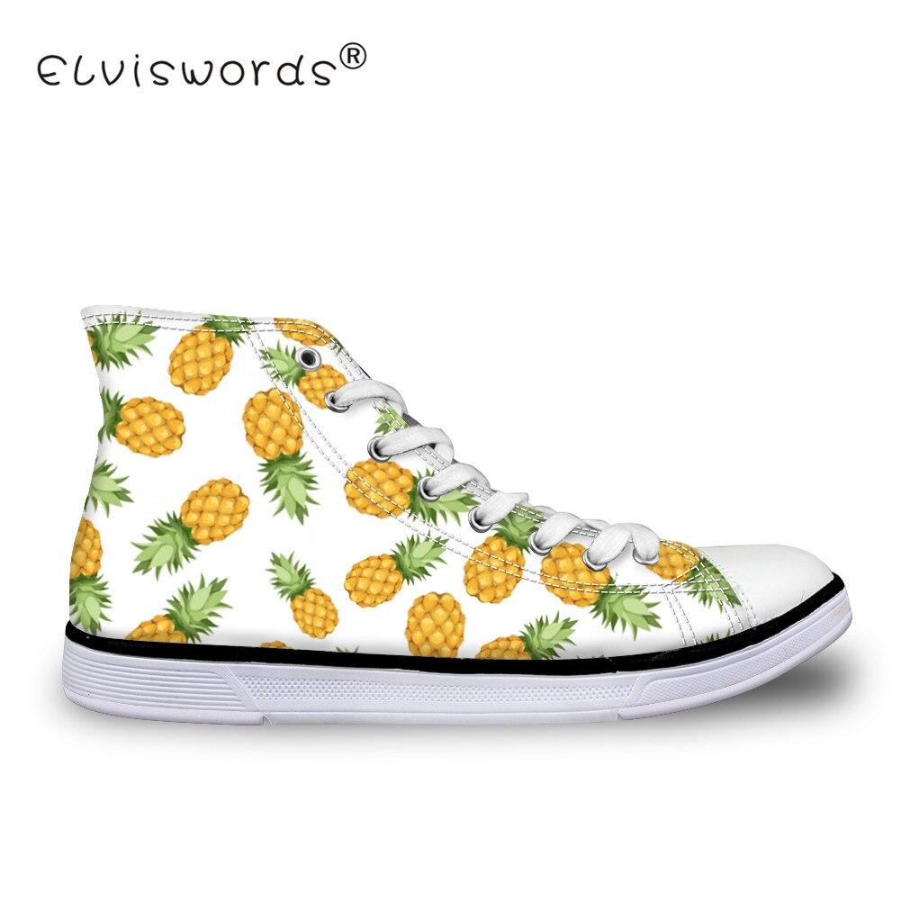ELVISWORDS ananas impression femmes chaussures vulcanisées adolescents haut chaussures en toile pour les étudiants de mode baskets confortables