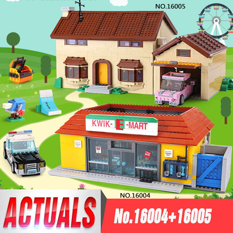 DHL 16005 les Simpsons House 16004 les briques de construction kwik-e-mart compatibles Legoed 71016 71006 cadeaux pour garçons