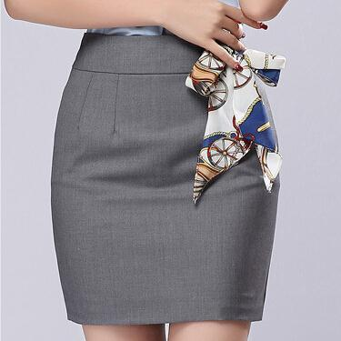 1426ae7785 Office Skirt With Free Scarf 2017 Summer Womens New Plus size S-3XL Gray Black  Formal Saias Work Wear Mini Short Pencil Skirts