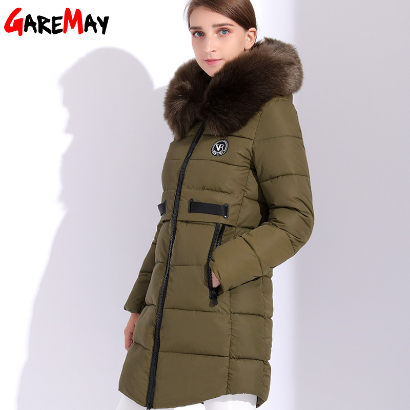 Women Winter Jacket 2017 For Women Parka Coat Fur Hooded Down Cotton Female Winter Jackets Women's Parkas Warm Thick GAREMAY fashionable thick hooded pleated down coat for women