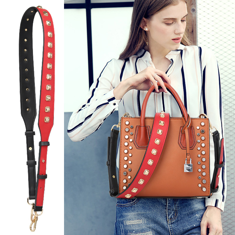 Rivet bag retro Liu nail long shoulder strap Messenger bag strap accessories