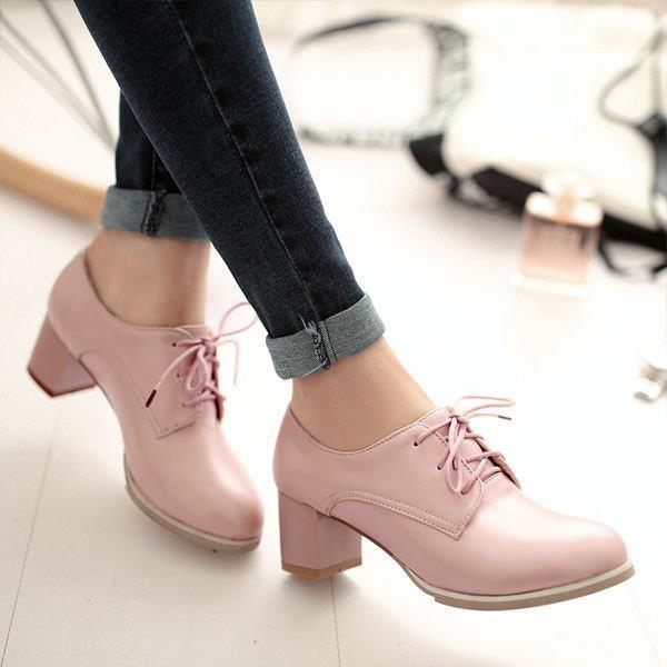 ФОТО Big size EUR 34-50 Thick Heels Round toe single shoes Spring Autumn high heel women shoes fashion Pumps lace up Low shoes OX119