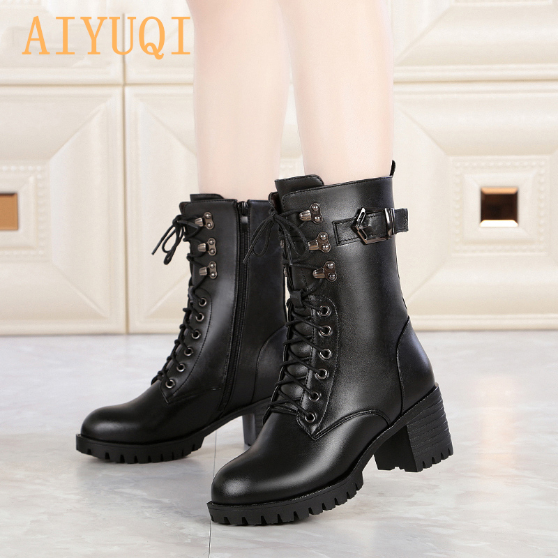 AIYUQI 2019 genuine leather women military boots size 41 42 43 lace fashion women Martin boots high heeled thick wool boots in Mid Calf Boots from Shoes