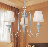 White Fabric Shade Modern Simple LED Chandelier With 3 Lights For Dinnig Living Room E14 Bulb