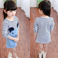 Kids Dresses for Girls 2016 Brand Baby Girls Dresses Long Sleeve Princess Dress Girls Clothes Striped Print Children Dress