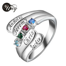 UNY 925 Sterling Silver Personlized Special Anniversary Sentimental Gift Unique Sparkling Birthstone Customized Heirloom Ring