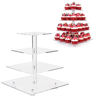 New Cupcake Cake Stand Wedding Candy Display Holder Decoration Transparent 4 Tiers Square Acrylic Cake Rack Accessories