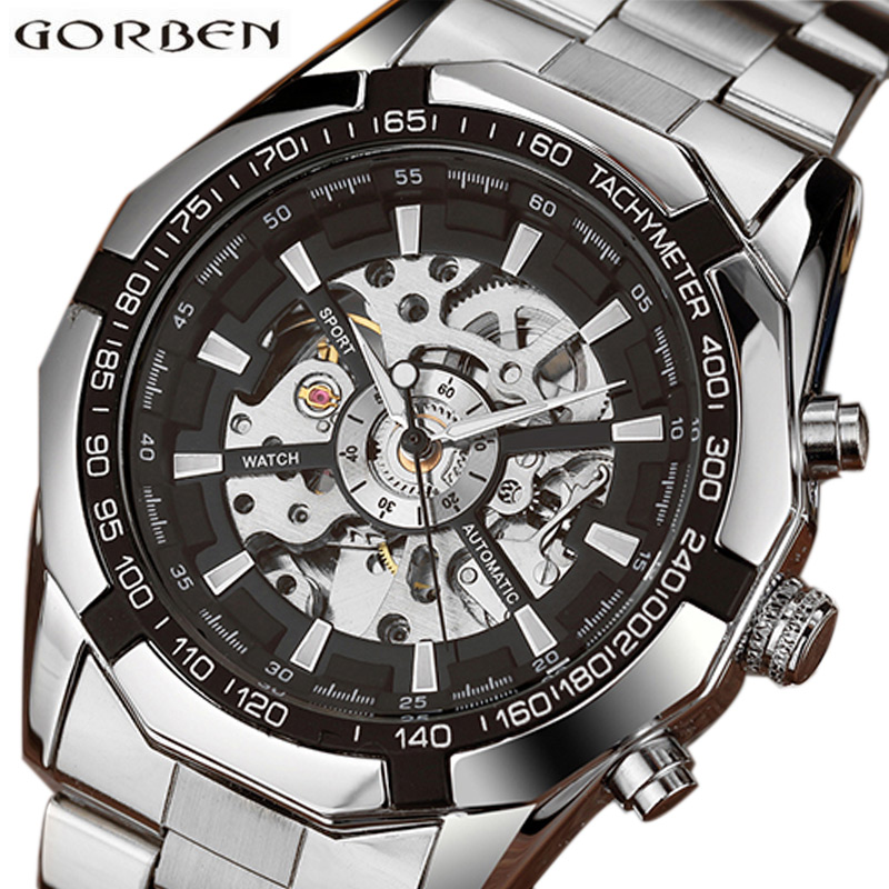 Skeleton Sports Automatic Stainless Steel Bracelet Chinese Mechanical Wrist Watches Mens Luxury Top Brand Gold Black Silver Gift tevise men black stainless steel automatic mechanical watch luminous analog mens skeleton watches top brand luxury 9008g