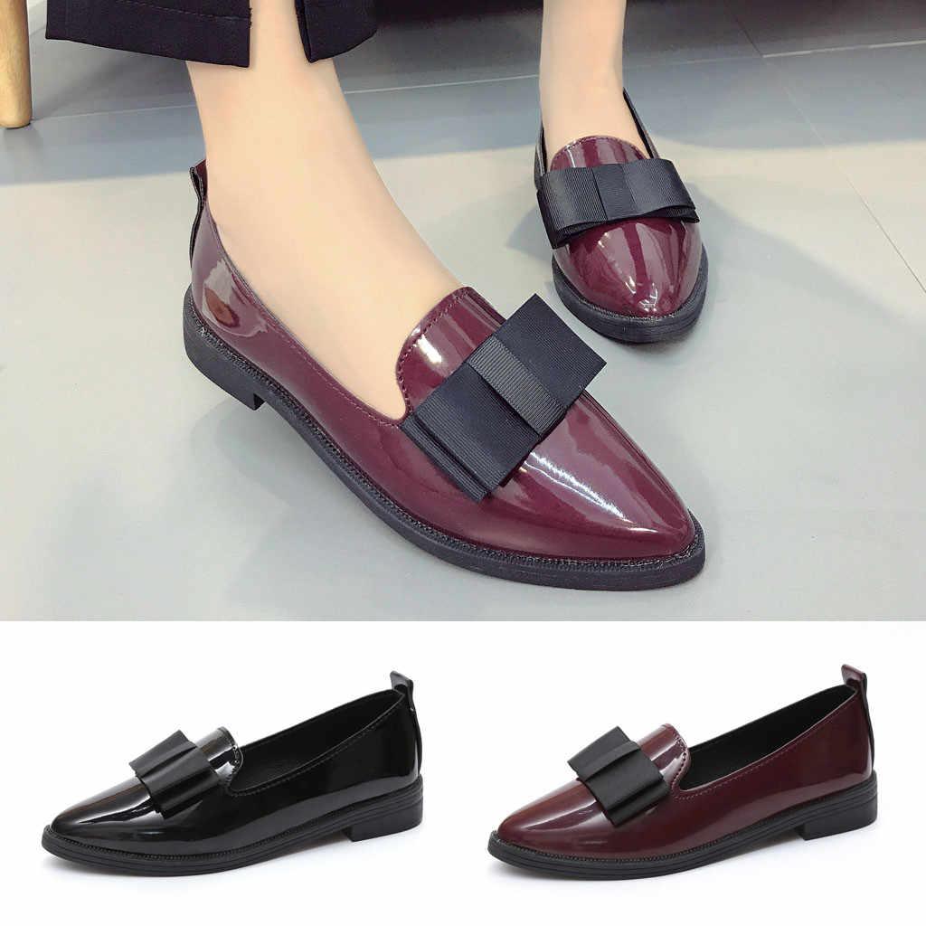 Zapatos de dama sin taco con plataforma de cuero de tacón bajo deslizantes en Punta puntiaguda zapatos de verano mocasines mujer
