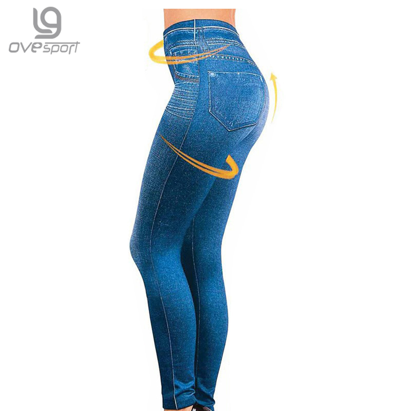 Genie Slim S-XXL Women   Legging   Jeans High Waist Elastic Jeggings Female Fitness   Leggings   Pants 2 Real Pocket Faux Jeans   Leggings