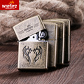Creative retro snowflake bronze embossed lighter kerosene windproof lighter lighter personality