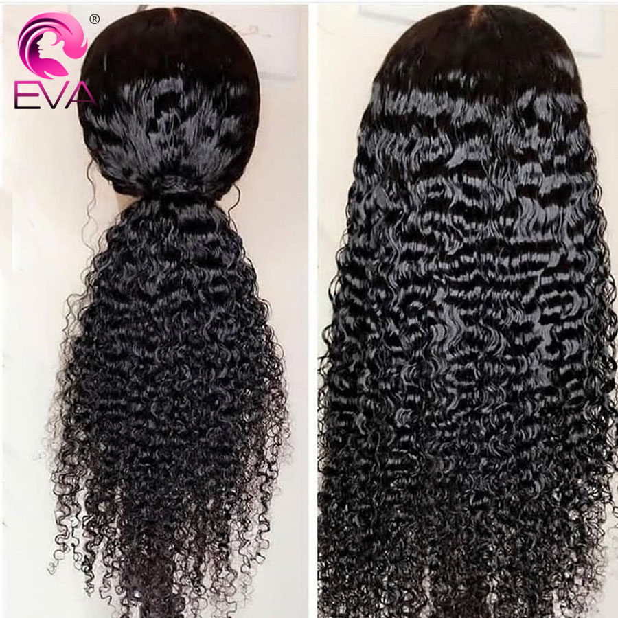 Eva Hair Lace Front Human Hair Wigs Pre Plucked With Baby Hair Brazilian Remy Hair 6 Inches Space Lace Curly Wig Bleached Knots