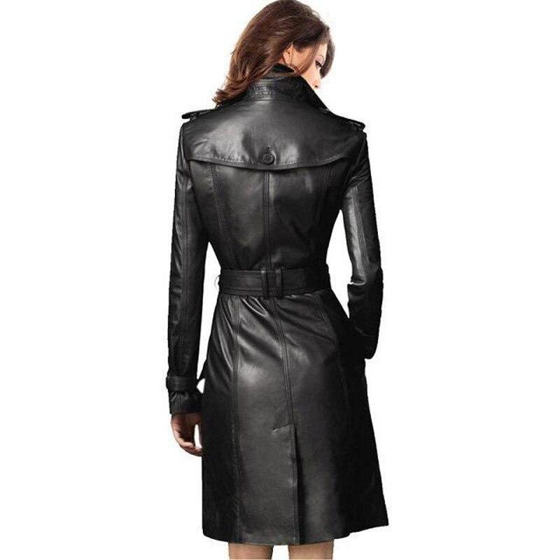 Classique Automne À De Boutonnage Lgp751 Double Femmes Black En Cuir Tranchée Haut Manteau Décontractée D'affaires Gamme Femme Mince Hiver Survêtement Nwm08nvO