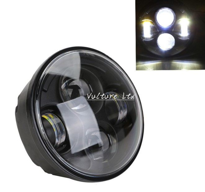 ФОТО Black 5.75 5 3/4 Motorcycle Projector LED Light Bulb Headlight For Harley Day