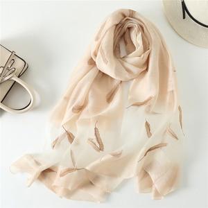 Image 2 - New silk wool scarf women fashion feather embroidery shawl wrap elegant lady Sunscreen pashmina winter neck scarves hijab femme