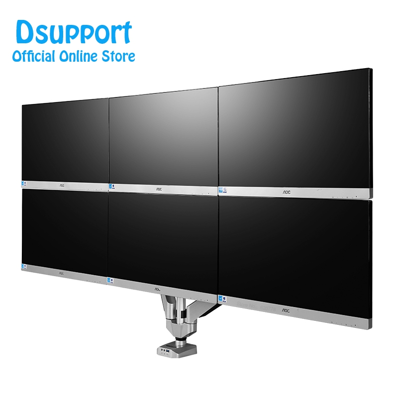 D7S Aluminum Full Motion Six Arm LCD LED TV Mount 10-24 Monitor Holder Mount Gas Spring Arm Bracket with USB and Audio Ports цена