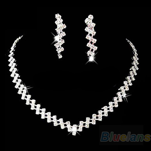 New Fashion Bridal Wedding Prom Jewelry Crystal Rhinestone Diamante Necklace & Earring Set 89DY