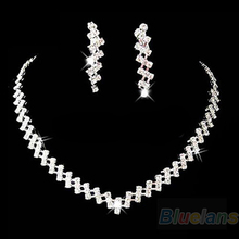 Bridal Wedding Prom Jewelry Crystal Rhinestone Diamante Necklace & Earring Set