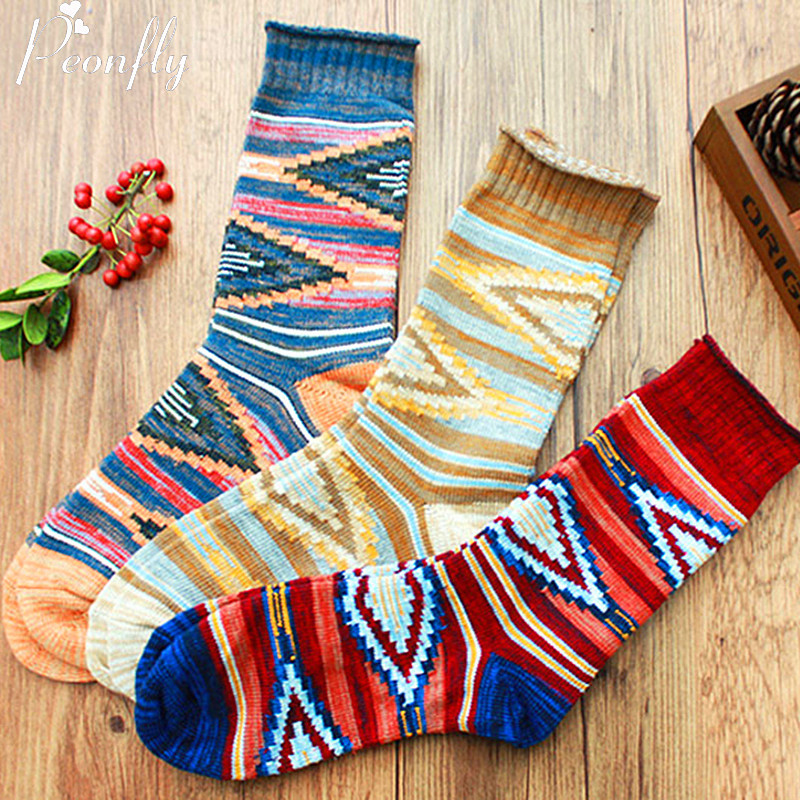 PEONFLY 3pair Socks In Tube Harajuku National Socks Simple The Diamond Men's Cotton Business Bold Lines Gentleman