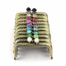 10 pcs/lot 8.5 cm antique bronze metal purse frame square lotus head coral beads Kiss clasp DIY bag accessories 10 colors