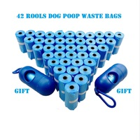 NEW Quality 42 Rolls Dog Waste Bags With 2 Dispenser And Leash Clip Poop Bag Pet