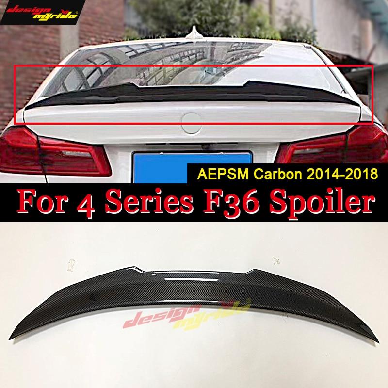 Para BMW F36 4 asa Spoiler Traseiro de Carbono Estilo PSM Série 420i 428i 435i 418d 420d Cauda Spoiler Traseiro asa lábio F36 4-porta hard top