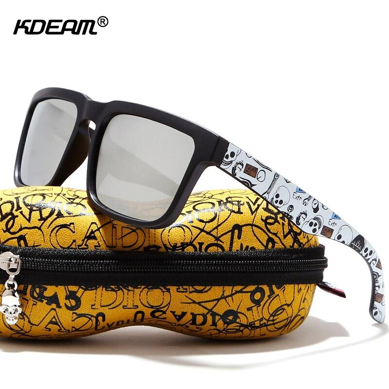 KDEAM blickfang Funktion Polarisierte Sonnenbrille Für Männer Matte Black Frame Fit. malerei Tempel Spielen-Cool Sonnenbrille Mit Fall