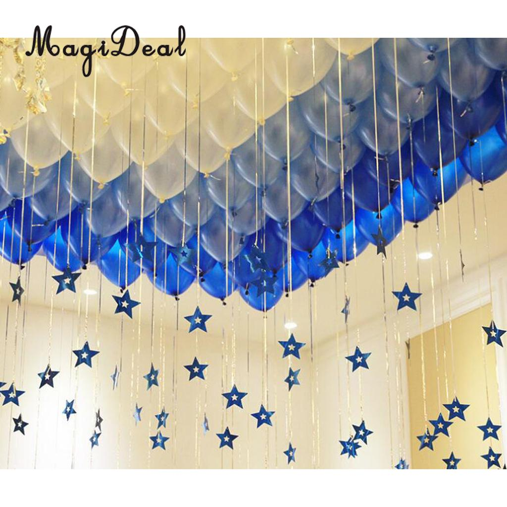 Us 3 65 19 Off 100x Shiny Plastic Stars Hanging Foil Balloon Swirl Tinsel Wedding Party Decor Blue Gold Silver In Diy Decorations From Home
