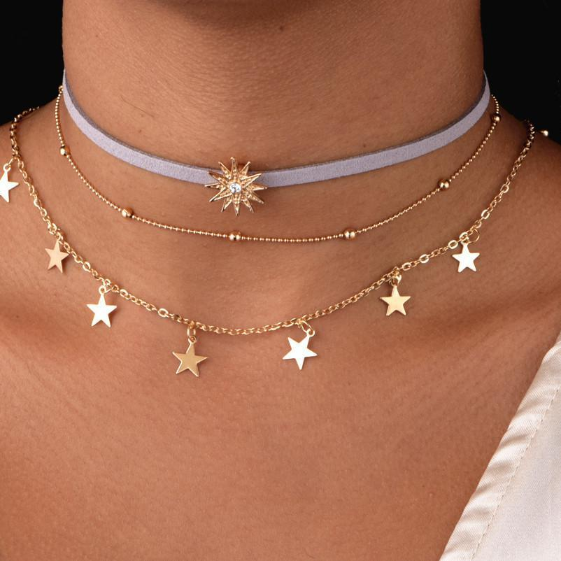 Gold Color Bead Chain Star Multi Layer Choker Necklace For Women Dainty Necklace Set Tattoo Choker Collier Femme Fashion Jewelry