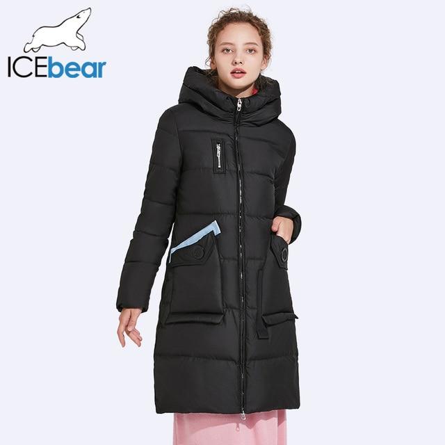 ICEbear 2017 зимняя куртка Для женщин пиджаки мягкий Куртки парка Для женщин пальто удобный и практичный карман 17G6532