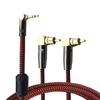 Right Angle Audio Cable Mini Jack 3 5mm 1 8 To Dual RCA Phono Male TV