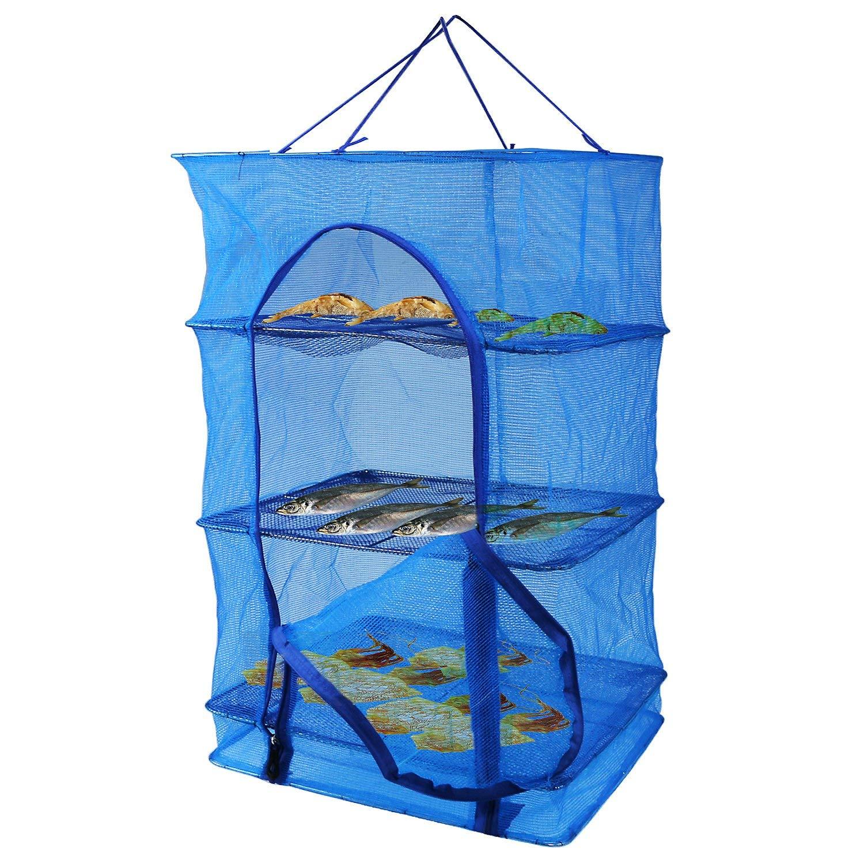 Fish Mesh Hanging Drying Net Food Dehydrator Durable Folding 4 Layers Fish Vegetable Dishes Dryer Net Drying Rack