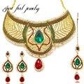 2017 marca de lujo de la india choker collar de cristal de circón collar de perlas imitado pendientes hairwear para las mujeres joyería de la boda establece