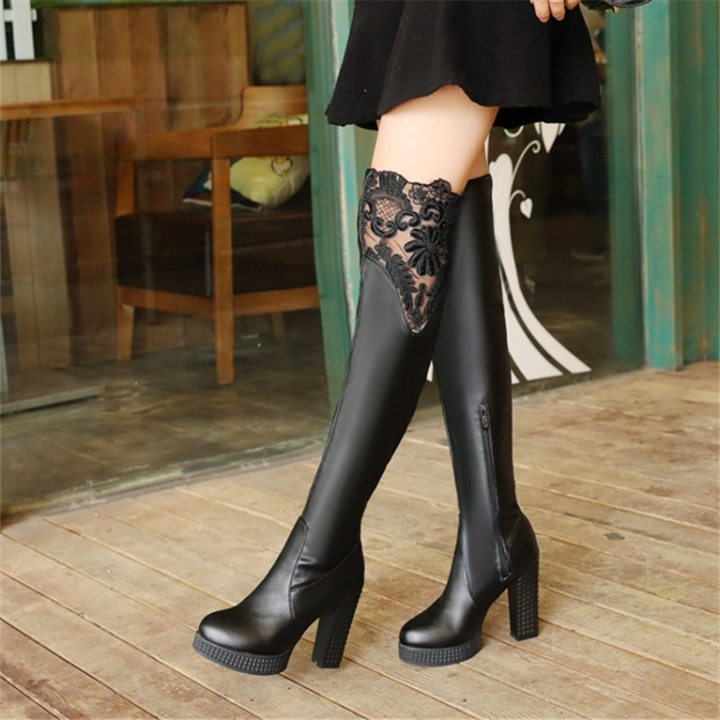 Plus Size 32-43 Autumn Winter New Lace Women Leather Boots Sexy Fashion Over the Knee Boots High Heel Platform Party Woman Shoes odetina 2017 new fashion autumn winter women thigh high boots blue denim over the knee boots high block heel shoes plus size 43