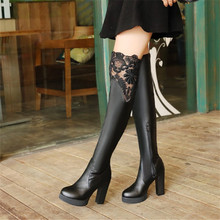 Plus Size 32-43 Autumn Winter New Lace Women Leather Boots Sexy Fashion Over the Knee Boots High Heel Platform Party Woman Shoes