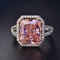 Мода Розовый шпинель палец кольца для женщин романтическое обручальное кольцо с драгоценным камнем 925 серебряные ювелирные изделия с АААА ...
