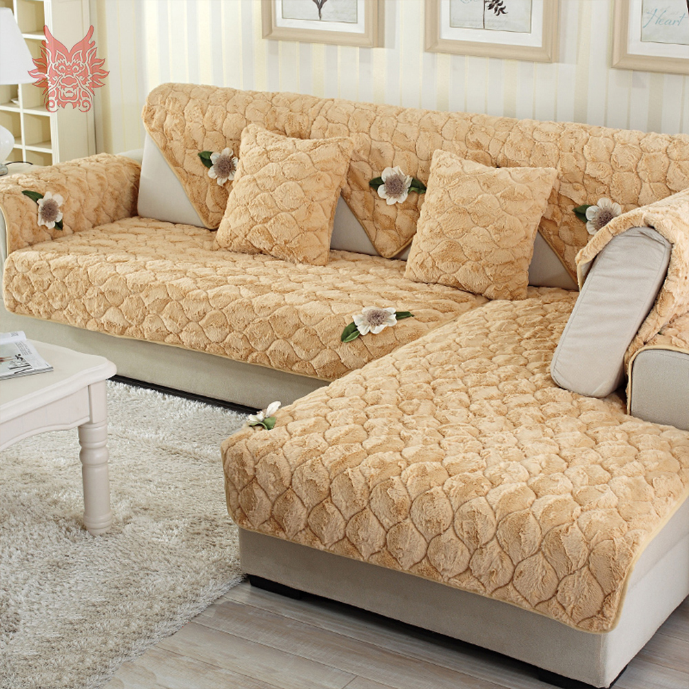 Modern Camel Pink With Floral Applique Long Fur Sofa Cover