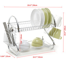 S-Shaped Dish Rack Set 2-Tier Chrome Stainless Plate Dish Cutlery Cup Rack With Tray Steel Drain Bowl Rack Kitchen Shelf