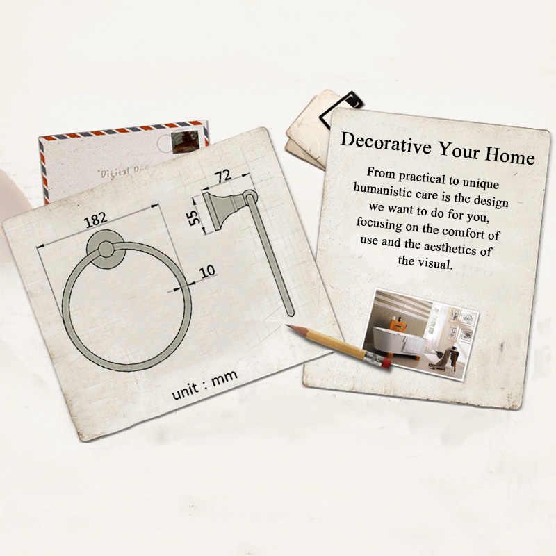 Держатель для ручного полотенца, черный, белый, настенный, аксессуары для ванной комнаты, античная бронза, круглая подвесная хромированная вешалка для полотенец, Золотое кольцо