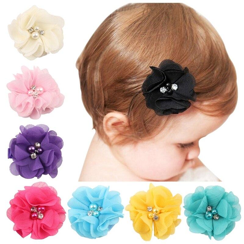 Baby Chiffon Flower Hair Clips Rhinestone Toddler Hairpins Girls Headdress 10PCS/SET N09