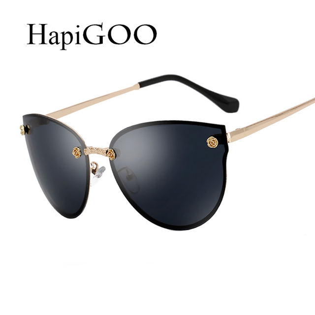 9f775c929f6 HapiGOO Fashion Oversized Rimless Cat Eye Sunglasses Women Driving Brand  Designer Mirror Sun Glasses For Female